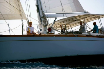 Duff, Chris and friends aboard their yacht, Sudiki