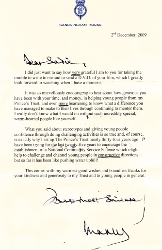 Thank you letter from HRH Prince Charles to Sadie Kaye