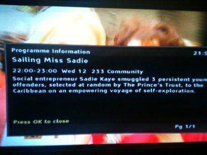 Sailing Miss Sadie on Community Channel (UK)