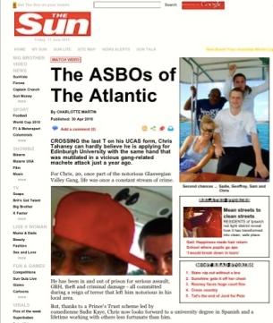Sadie Kaye in The Sun (The ASBO's of the Atlantic)