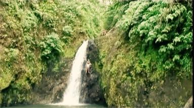 Sadie Kaye leaps off a 60ft Waterfall in Grenada